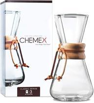 Passador De Café Com Alça De Madeira Para 3 xícaras Chemex -