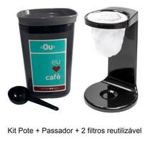 Passador De Café Individual Pote Hermético C/2 Filtros - Ou