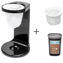 Passador de Cafe My Coffee Preto - OU + Pote Hermetico 1 Litro Chumbo - OU + Refil de Coador com 2 Unidades Branco - OU - Martiplast