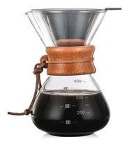 Passador De Café Vidro Borossilicato Coador Inox 350ml Mimo -