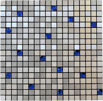 Pastilha Adesiva para Revestimento de Parede- Aço escovado com Pedras Azuis - Clerkzdecor