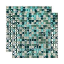 Pastilha de vidro Galliano placa 31x31cm verde Glass Mosaic -