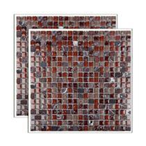 Pastilha de vidro Glass Stone placa 31x31cm marrom e begeGlass Mosaic -