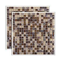 Pastilha de vidro Glass Stone placa 31x31cm marrom Glass Mosaic -