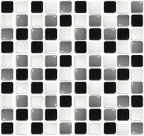 Pastilhas Adesiva Resinada, Placa 30cm, Preto, Branco e Cinza Escuro - Dw Decor