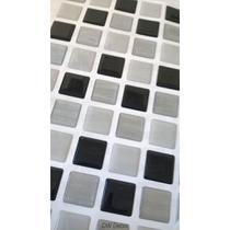 Pastilhas Adesiva Resinada, Placa 30cm, Preto, Cinza Claro e Prata Escovado - Dw Decor