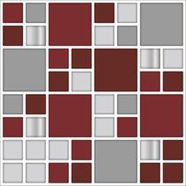 PASTILHAS RESINADA AUTOCOLANTE 22,5cm x 22,5cm STY15 Vinho, Cinza, Prata, Marfin - Tacdecor
