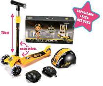 Patinete 3 Rodas Amarelo Com Kit De Proteção E Capacete - Unitoys