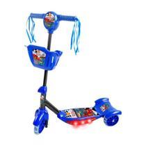 Patinete 3 Rodas Infantil Musical Com Luzes E Cesta Azul - Dm Toys