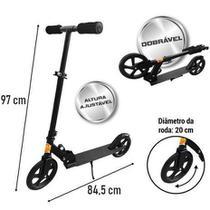 Patinete Adulto Juvenil Roda Grande 20cm Preto 80kg DMR4881 - Dm Toys
