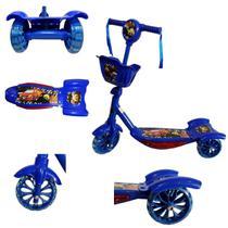 Patinete Azul Infantil Menino Carros 3 Rodas Musical - Analu Kids
