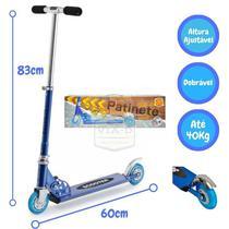 Patinete Brinquedo Infantil Alumínio 2 Rodas 40kg Ajustável Azul - Dm Radical
