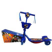Patinete Carros Azul Infantil Menino 3 Rodas Musical - Analu Kids
