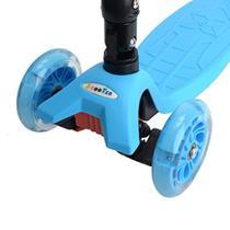 Patinete Com 4 Rodas em Gel com Luzes De Led Freio Duplo Masculino Azul Dobrável - On Line