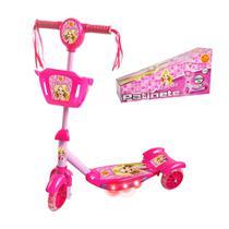 Patinete Com Cestinha Meninas Rosa Com Luz E Sons Belinda - Dm Toys
