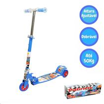 Patinete Dobrável 03 Rodas Radical Até 50kg Top Azul Dm Toys -