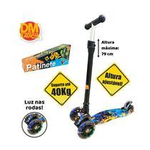 Patinete Flash Radical Trinete 3 Rodas Infantil Colorido Luzes Dobrável DM Toys DMR5360 -