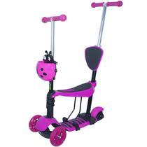 Patinete Infantil 3 Rodas 3x1 Scooter Cadeirinha Assento Empurrador Triciclo Importway BW-048RS Rosa -