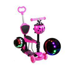 Patinete Infantil 3 rodas 5in1 Com Assento Ajustável para passeio cor rosa menina - Gfone