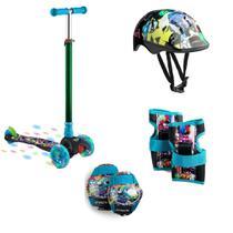 Patinete Infantil 3 Rodas com Led Monster Átrio ES114 + Kit De Proteção Infantil Masculino Monster ES200 - Multilaser