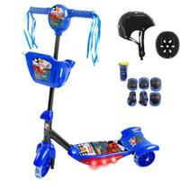 Patinete Infantil 3 Rodas Com Luz Azul + Kit Proteção Acessórios - Dmbrasil