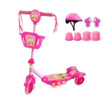 Patinete Infantil 3 Rodas Com Luz + Kit Proteção Acessórios - Dmbrasil