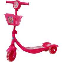 Patinete Infantil 3 Rodas Gel Musical Cesta Luzes Feminino Menina Princesa Rosa Importway BW-010-R -