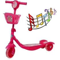 Patinete Infantil 3 Rodas Musical Com Cesto E Luzes Bw-010-ROSA - Importway