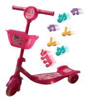 Patinete infantil  3 rodas rosa com cesta - IMPORTWAY