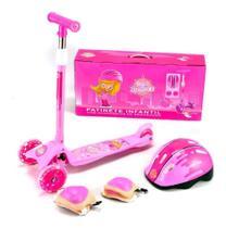 Patinete Infantil 3 Rodas Rosa com Kit de Proteção até 50 Kg - Unitoys