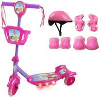 Patinete Infantil Princesa Meninas Radical Com Kit de Proteção - Dm Toys