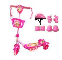 Patinete Infantil Radical Meninas com Kit De Proteção Divertido - Dm Toys