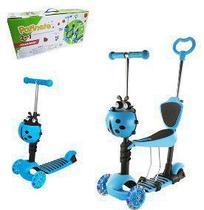 Patinete  joaninha Azul 2 em 1 Scooter com Cesto e Luzes nas Rodas até 60kg 3 Rodas - Dm Toys