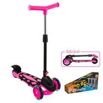 Patinete Menina Infantil 3 Rodas Power Dobrável Rosa 66,5 Cm - Dm Toys