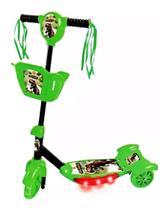 Patinete Meninos Dinossauro Infantil 3 Rodas Musical Com Luz - Dm Toys