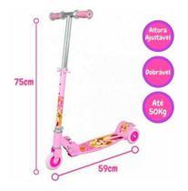 Patinete New Top Radical 3 Rodas Infantil 50kg Ajustavel DMR4879RS Rosa - Dm Toys