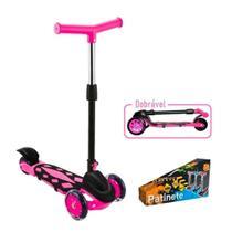 Patinete Power Rosa e Preto 3 Rodas Dobrável - DM Radical - Dm Toys