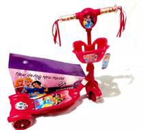 Patinete Princesas Disney Infantil Cesta Musical Cesta Led Luzes Com 3 Rodas - Scooter - Alo