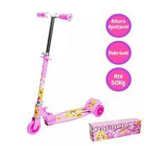 Patinete Radical 03 Rodas Meninos Rosa Dobrável Resistente DM Toys -