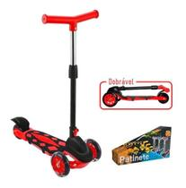 Patinete Radical Power Trinete 3 Rodas Dobravel Altura Ajustavel até 40kg Vermelho DMR5551 - Dm Toys