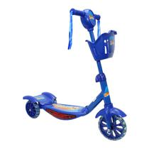 Patinete scooter 3 rodas com led musical cesta azul mc8381az unica - Mega compras