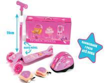 Patinete Scooter Infantil 3 Rodas +Kit Proteção Unitoys 1573 -