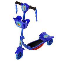 Patinete Toy Story Para Crianças Scooter 3 Rodas Brinquedo Infantil De Led E Som Menino Azul Modelo Com Cestinha - Art Brink