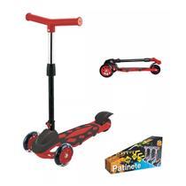 Patinete Vermelho Power Ajustável Dobrável 3 Rodas Dm Toys -