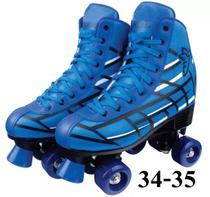 Patins 4 Rodas Clássico Azul Menino 34 Ao 35 Roller Skate - Fênix