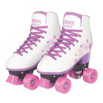 Patins 4 Rodas Clássico Branco e Roxo 38 ao 39 Roller Skate - Fênix