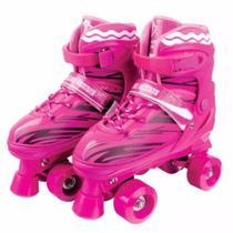 Patins 4 Rodas Clássico Rosa 30/33 Roller Skate Ajustável - Fênix