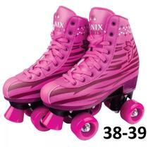 Patins 4 Rodas Clássico Rosa Menina 38 ao 39 Roller Skate - Fenix