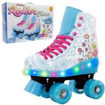 Patins 4 Rodas Flores Botas Com Luz Led Infantil - TAM 37 - Dm Toys