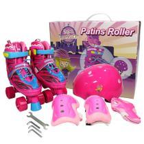 Patins 4 Rodas Infantil Com Kit Completo De Proteção Ajustável 30 ao 34 - Unitoys
